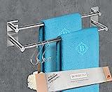 BORBETO® Doppelte Handtuchstange [40cm] – OHNE Bohren –...